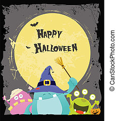 Halloween Monsters Card - Cute little monsters having a...