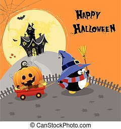 Cute Halloween Card - Penguin delivering halloween pumpkin.