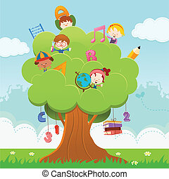 Learning Tree - Cute little children climbing on tree with...