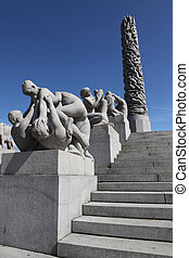 Statues in Vigeland park in Oslo, Norway on Jule 26, 2008...