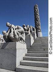 Statues in Vigeland park in Oslo, Norway on Jule 26, 2008....