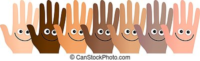 happy hands - Diverse and happy group of hands standing...