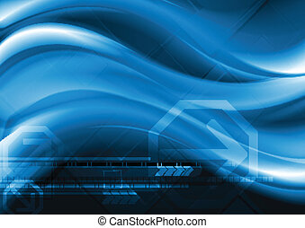 Dark blue abstract background - Abstract wavy tech...