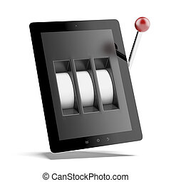 Tablet one-armed bandit   isolated on a white background