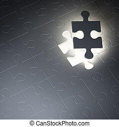 Missing jigsaw puzzle piece in the dark