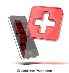 First aid medical icon with tablet