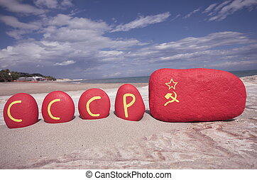 CCCP with Soviet Union flag on ston - CCCP,...