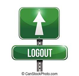 logout road sign illustration design