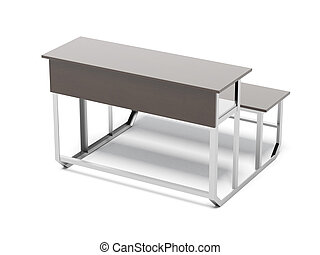wooden school desk isolated on a white background