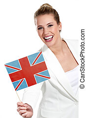 beautiful woman showing international flags on white