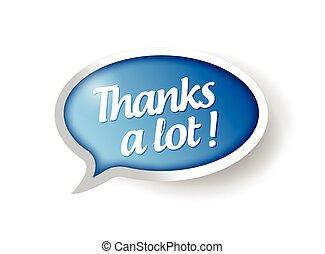 obrigado, lote, mensagem, bolha, Ilustração