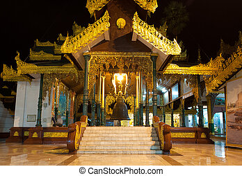 Hall of King Singu?s Bell in Shwedagon pagoda,...