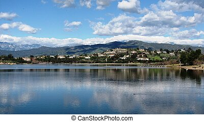 Puddingstone Reservoir - Blue sky and clouds over a...