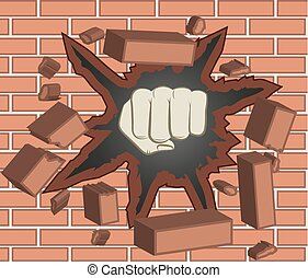 clenched fist - Fist breaking through red brick wall