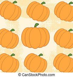 Pumpkin Pattern With Grunge Texture