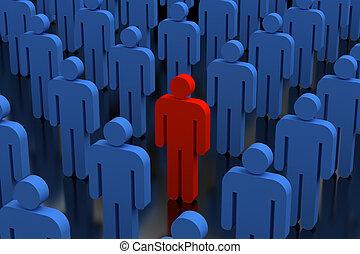 Unique person in crowd