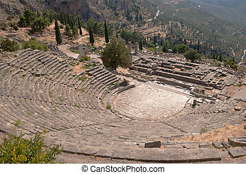Temple of Apollo and the theater at Delphi oracle...