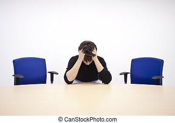 homem, reunião, sala, triste