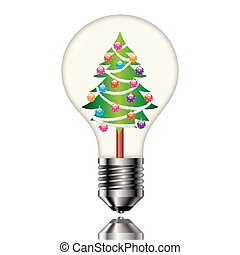 Christmas tree in a light bulb.
