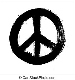 Isolated hand drawn peace symbol brush style composition...