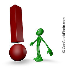 attention - green guy and exclamation mark - 3d illustration