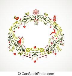 vendimia, navidad, elementos, muérdago,...
