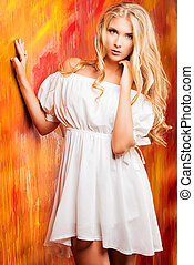 country style - Charming blonde girl in romantic white dress...