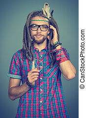 hippie man - Portrait of a hippie young man in spectacles.