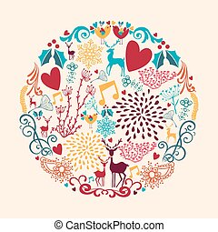 Colorful Merry Christmas circle shape with reindeers and love elements composition. EPS10 vector file organized in layers for easy editing.