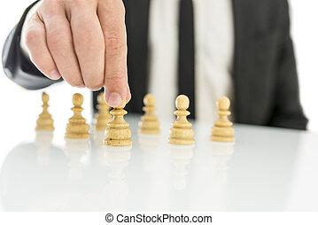 Human resources concept - Closeup of businessman arranging...