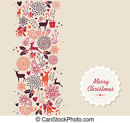 Vintage Merry Christmas text, reindeer and circle elements background. EPS10 vector file organized in layers for easy editing.