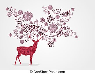 Merry Christmas vintage reindeer, snowflakes and winter elements background. EPS10 vector file organized in layers for easy editing.