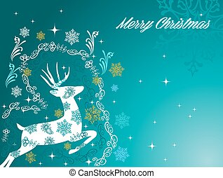 Merry Christmas text with reindeer, snowflakes and winter elements background. EPS10 vector file organized in layers for easy editing.