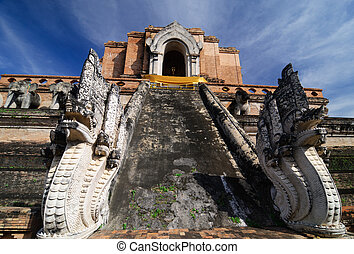 Wat Chedi Luang, Old temple in chiangmai, Thailand