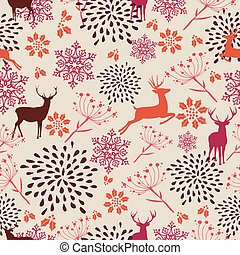 Cute vintage Christmas elements seamless pattern background....