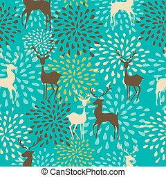 Vintage Christmas elements, reindeer and snowflakes seamless pattern background. EPS10 vector file organized in layers for easy editing.