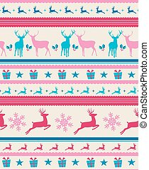 Vintage Christmas elements, reindeer and presents seamless pattern background. EPS10 vector file organized in layers for easy editing.
