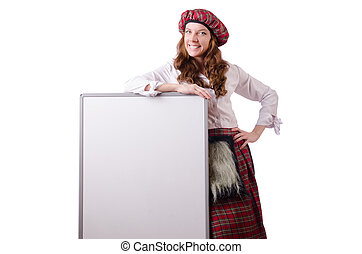 Scottish woman with board on white