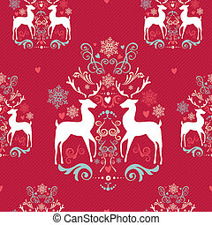 Vintage Christmas elements, reindeer, snowflakes and heart shapes seamless pattern background. EPS10 vector file organized in layers for easy editing.