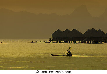 Bora Bora - French Polynesia - South Pacific - Dusk over the...