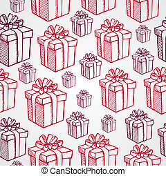 Vintage Christmas elements, presents and gifts boxes seamless pattern background. EPS10 vector file organized in layers for easy editing.