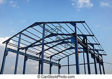 Steel frame of a new industrial building - Steel structure...