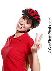 young woman with a bike helmet - a young woman with a bike...