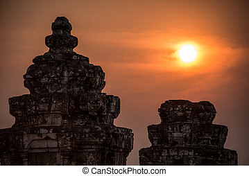 Angkor Wat at Sunset. Cambodia. Temples, Ancient Civilization. Asia.