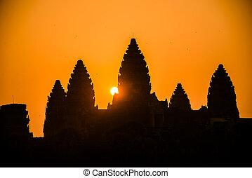 angkor, wat, silueta, salida del sol, religión,...