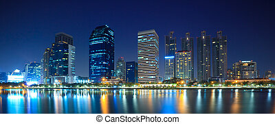 Panorama of Bangkok downtown city at night Bangkok,Thailand