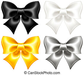 Festive bows black and gold - Vector illustration -...