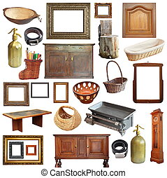 collage with old vintage objects - collage with a large...