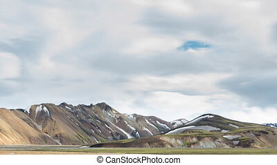 Landmannalaugar, Iceland - Tourists walking under colorful...