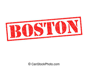 BOSTON Rubber Stamp over a white background